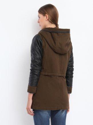 kurtka damska długa z guzikiem